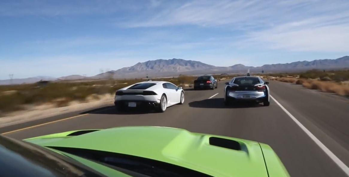 BMW i8 vs Lamborghini Huracan vs Dodge SRT Hellcat vs Ford Mustang
